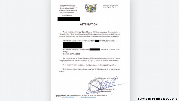 The certificate detailing Boris Becker's appointment as a CAR attache