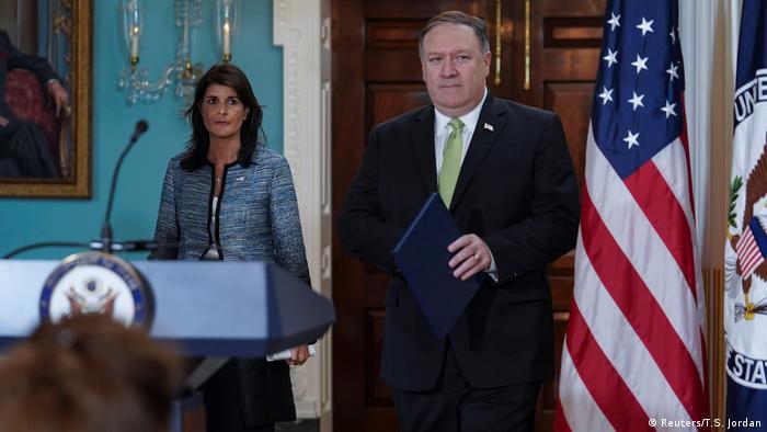 USA Ankündigung Austritt aus UN-Menschenrechtsrat | Nikki Haley & Mike Pompeo (Reuters/T.S. Jordan)