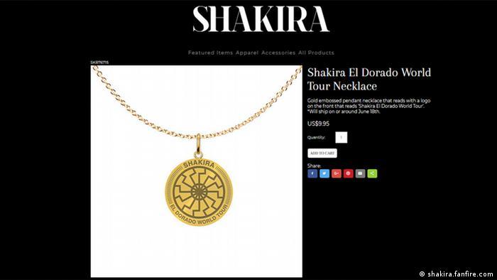 Screenshot Internetseite shakira.fanfire.com