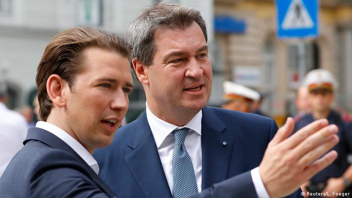 Sebastian Kurz and Markus Söder at a meeting of their cabinets on immigratio
