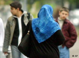 A Muslim woman wearing a headscarf in Germany