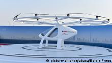 Presentation and first flight of the Volocopter 2X used as Autonomous Air Taxi, in Dubai, United Arab Emirates, on September 25, 2017. It is a drone that will be the world's first self-flying taxi service set to be introduced by Dubai's Road and Transport Authority (RTA), in the coming years. The two-seater vehicle, is capable of transporting people without human intervention or a pilot, and is supplied by Volocopter, a Germany-based specialist manufacturer of autonomous air vehicles. Photo by Balkis Press/ABACAPRESS.COM |