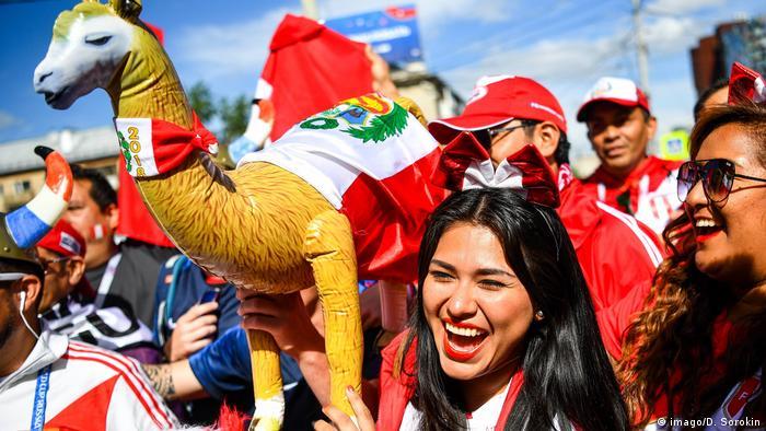 Peruvian fans celebrate ahead of a game