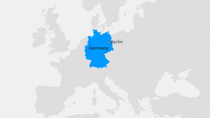 Infografik Karte Deutschland in Europa EN