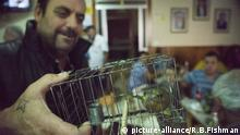 Man holds a bird in a cage in Malta (picture-alliance/R.B.Fishman)