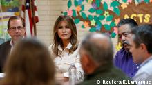 U.S. first lady Melania Trump and U.S. Secretary of Health and Human Services Alex Azar (L) listen during a roundtable meeting at the Lutheran Social Services of the South Upbring New Hope Children's Center near the U.S.-Mexico border in McAllen Texas, U.S., June 21, 2018. REUTERS/Kevin Lamarque