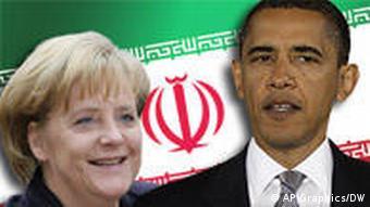 Merkel and Obama with Iran Flag