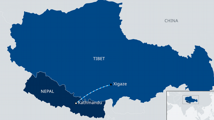 Map showing the planned rail link between Tibet and Nepal