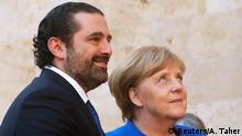 German Chancellor Angela Merkel with Lebanese premier Saad al-Hariri in Beirut