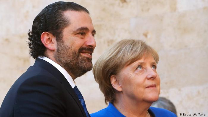 German Chancellor Angela Merkel with Lebanese premier Saad Hariri in Beirut