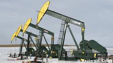 FILE PHOTO: Pumpjacks taken out of production temporarily stand idle at a Hess site while new wells are fracked near Williston, North Dakota November 12, 2014./File Photo