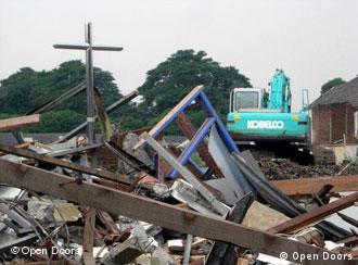 Kreuz der einstigen Kirche in Cirebeum in Indonesien, die von Behörden niedergerissen wurde (Foto: Open Doors)