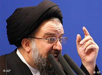Iranian senior hard-line cleric Ayatollah Ahmad Khatami, delivers a Friday prayer sermon, at the Tehran University campus in Tehran, Iran, Friday, June 26, 2009. Khatami urged government to punish post-election rioters strongly and with cruelty. (AP Photo/Vahid Salemi) Ajatollah Ahmed Chatami