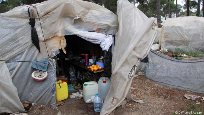 A tent serving as a temporary shelter for Moroccan migrant workers in Spain
