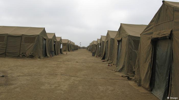 A row of tents at Red Beach, Camp Pendleton, California