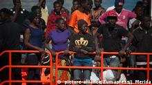 22.06.2018 +++ - Malaga, Spain - Migrants, who were rescued from a dinghy in the Mediterranean Sea seen arriving at Port of Malaga. Members of the Spanish Maritime Safety rescued a total of 55 migrants (of them, 49 mens, 6 minors and 6 womens) near the Malaga coast and brought at Port of Malaga, where they were assisted by the Spanish Red Cross |