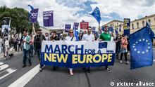 """June 23, 2018 - Munich, Bavaria, Germany - Citizens of Munich and Europe demonstrated under the banner of """"March for a New Europe"""" in the face of disunity, right-wing, and populist movements. The group is essentially the Pulse of Europe organizers, who has seen radically declining support over the past year and has, despite claiming to be against racism and populism, welcomed Pegida to participate. Outside of demonstrations it is unclear what activities the group takes part in. Bavaria also has its specific challenges, such as with its ruling CSU party who has been accused of creating disunity and separatism in Germany and Europe. Former Munich mayor turned celebrity speaker Christian Ude delivered a speech 