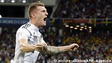 23.06.2018, Sochi Germany's Toni Kroos celebrates after he scored his side's second goal during the group F match between Germany and Sweden at the 2018 soccer World Cup in the Fisht Stadium in Sochi, Russia, Saturday, June 23, 2018. (AP Photo/Frank Augstein) |