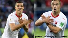 Granit Xhaka and Xherdan Shaqiri celebrate their goal with the double-headed eagle Albanian symbol (picture-alliance/dpa/L. Gillieron)