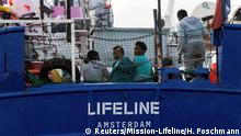 21.6.2018*** Migrants are seen on the deck of the Mission Lifeline rescue boat in the central Mediterranean Sea, June 21, 2018. Picture taken June 21, 2018. Hermine Poschmann/Misson-Lifeline/Handout via REUTERS ATTENTION EDITORS - THIS IMAGE WAS PROVIDED BY A THIRD PARTY. NO RESALES. NO ARCHIVES TPX IMAGES OF THE DAY