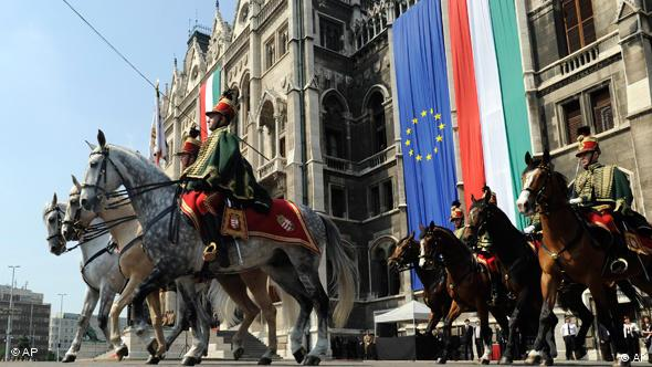 Hungarian traditional light cavalry ride in front of Parliament during the memorial day events in Budapest