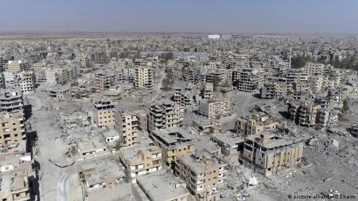 Разбомбленные дома в сирийской Ракке