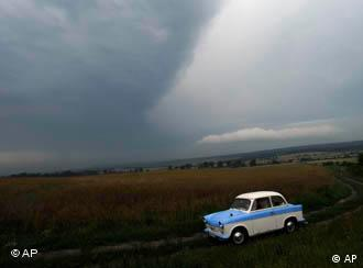 A Trabant car on the Hungarian border