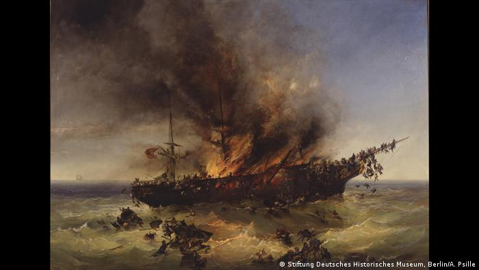Painting of a burning ship at sea © Stiftung Deutsches Historisches Museum, Berlin / A. Psille