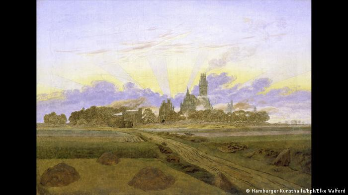 Painting of fields in the foreground, a city with billowing smoke in the background as the sun rises © Hamburger Kunsthalle / bpk Foto: Elke Walford