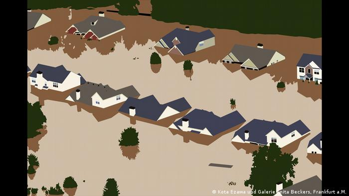 roofs of houses surrounded by floodwaters . © Courtesy the artist and Galerie Anita Beckers, Frankfurt a.M.