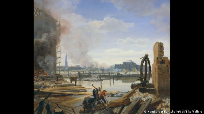 Painting of men wiorking in the foreground, and smoke over the city in the background © Hamburger Kunsthalle / bpk Foto: Elke Walford