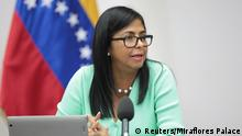 23.06.2018 +++ Venezuela's Vice President Delcy Rodriguez speaks during a meeting with ministers at Miraflores Palace in Caracas, Venezuela June 23, 2018. Miraflores Palace/Handout via REUTERS ATTENTION EDITORS - THIS PICTURE WAS PROVIDED BY A THIRD PARTY.