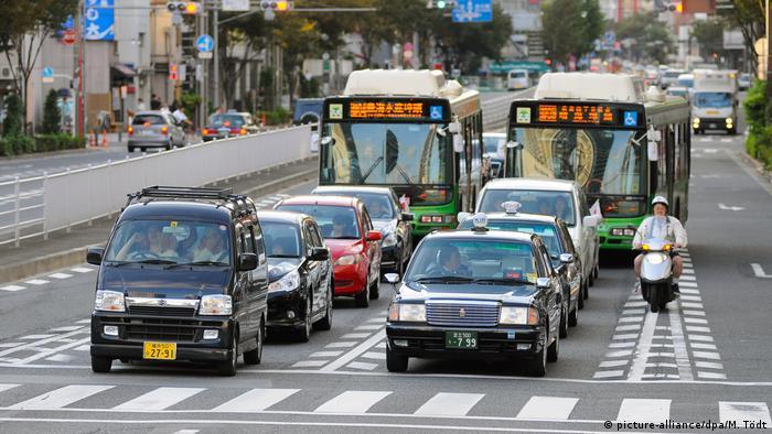 Traffic waits in Tokyo