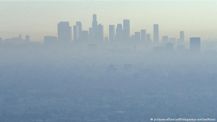 Los Angeles skyline shrouded by smog