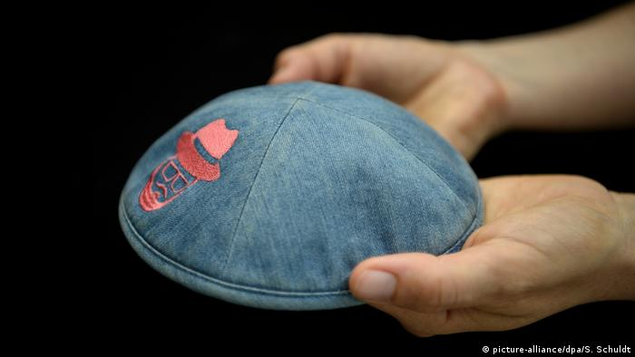 A kippah worn by the victim of an attack in Berlin