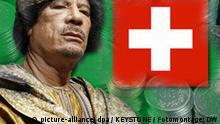 Muammar al-Gaddafi, Libyische Flagge, Schweizer Flagge, Schweizer Franken. Montage: Florian Görner, Juni 2009