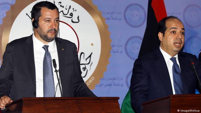 Libyen Matteo Salvini und Ahmed Maiteeq in Tripolis