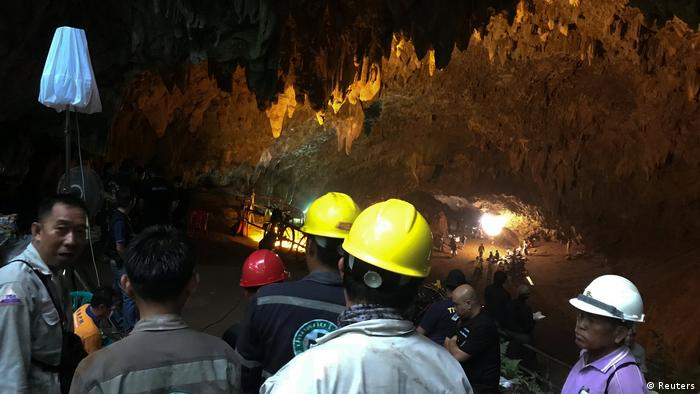 Rescuers work in a Thailand cave (Reuters)