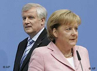 Angela Merkel speaks to a large crowd at the party convention
