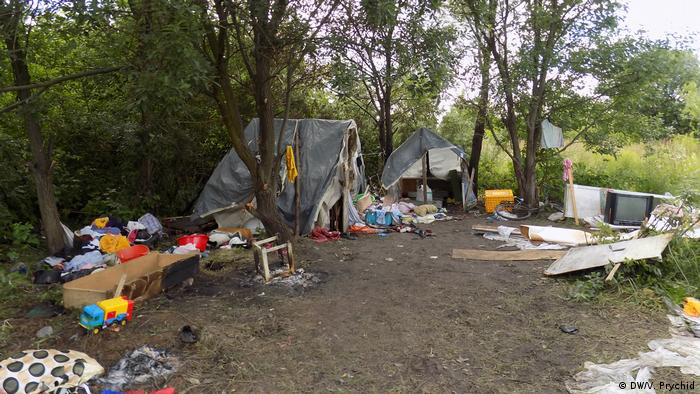 Destroyed Roma camp outside Lviv