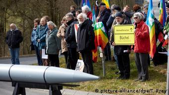 Акция немецких противников размещения американского ядерного оружия в Германии.