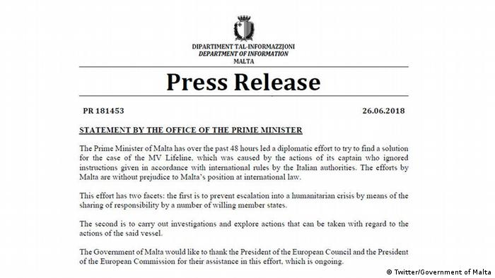 Statement by the Office of the Prime Minister of Malta