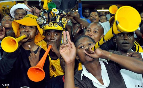 Vuvuzela playing fans in South Africa