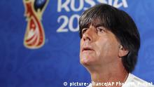 Germany head coach Joachim Loew attends a press conference the evening before the group F match between Germany and South Korea during the 2018 soccer World Cup in Kazan, Russia, Tuesday, June 26, 2018. (AP Photo/Michael Probst) |