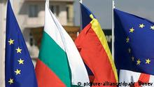 EU, Bulgaria and Romanian flags