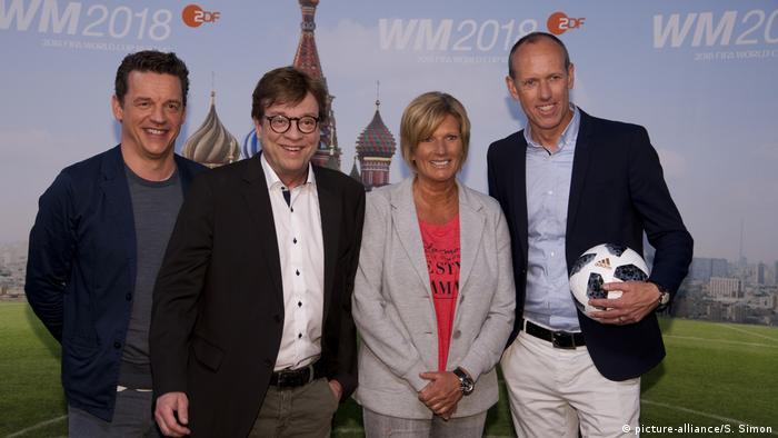 Claudia Neumann and her ZDF commentator colleagues at the 2018 World Cup in Russia