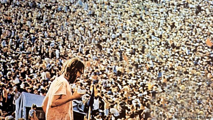 Thousands of people at the Woodstock festival.