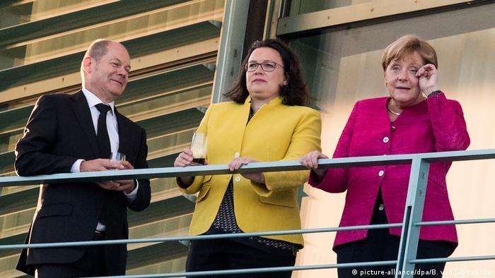 Olaf Scholz, Andrea Nahles, Angela Merkel