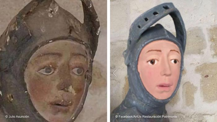 Before and after - restoration of a St. George statue in Spain