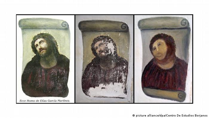 La obra Ecce Homo quedó desfigurada.